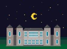 Mansión del pixel con la luna Foto de archivo libre de regalías