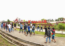 Mansinam Island, West Papua. Crowdy people walking to and from the Jesus Redeemer Statue in Manokwari, West Papua. It was an annual big religious celebration Royalty Free Stock Photography