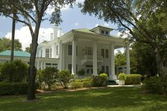 Mansion. Large two story plantation style home with columns stock photo