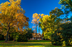 Mansion and autumn colors in Longwood Gardens, Pennsylvania. Royalty Free Stock Images