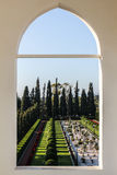 Mansion of Bahji view. View from the balcony of the Mansion of Bahji. Located in Bahji; Akko, Israel. archway overlooking the Baha'i gardens Stock Photo