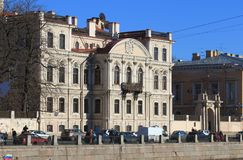 The mansion of Countess Karlova Memorial library of Prince Golitsyn. The Fontanka river embankment, house 46, St. Petersburg. Saint Petersburg, RUSSIA - MAY 02 stock photography