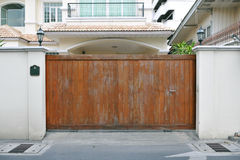 Mansion Gateway. Large Wooden Gate of a Luxury Mansion Stock Photography