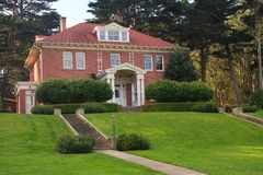 Mansion on a hill. Old officers mansion in Park Presidio, San Francisco Stock Image