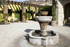 Mansion home outdoor fountain plaza Royalty Free Stock Photo