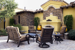 Mansion home outdoor plaza patio. Outdoor patio of an Arizona Italian mansion with mountains in background Stock Images