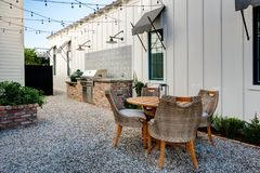 Mansion home outdoor plaza patio barbeque Stock Image
