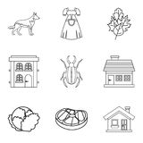 Mansion house icons set, outline style. Mansion house icons set. Outline set of 9 mansion house vector icons for web isolated on white background Royalty Free Stock Images