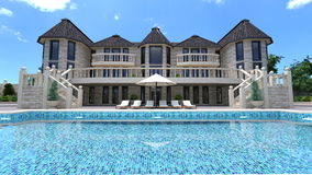 Mansion. Image of mansion and swimming pool Stock Photo