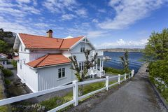 Mansion and jetty at Styrso. Of Bohuslan Coast, Sweden stock image