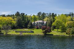 Mansion by the Lake In New York Stock Photography