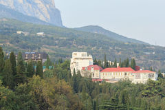 Mansion near the mountains of Crimea Stock Photo