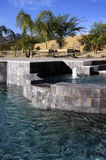 Mansion pool, spa and patio Royalty Free Stock Images