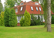 The mansion with a red tile roof. Kaliningrad Royalty Free Stock Images