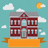 Mansion, red and white old building with clock on the wall. Flat  illustration Royalty Free Stock Photos