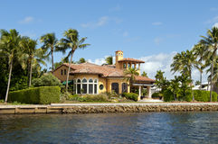 Mansion on river. Scenic view of luxurious mansion on New river, Fort Lauderdale, Miami, Florida, U. S. A Royalty Free Stock Photos