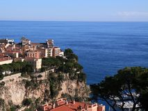 Mansion By The Sea. An old mansion on the hill overlooking the Mediterranean coastline of Monte Carlo in Monaco royalty free stock photography