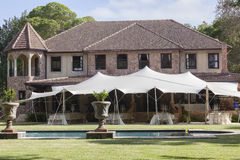 Mansion Tent Party Pool Landscape Royalty Free Stock Photo