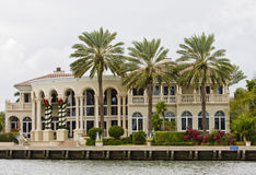 Mansion and Three Palms at Christmas Stock Photography