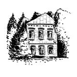 Mansion among the trees. Vector sketch of mansion among the trees, hand drawn house at park Stock Photos