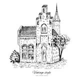 Mansion vintage vector sketch tile old european house, Historical building line art isolated, touristic postcard, poster Royalty Free Stock Photos