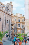 The mansions of Four Corners Square. PALERMO, ITALY - OCTOBER 2, 2012: The view on mansion in Vigliena Square, also famous as the Four Coners (Quatro Canti) from royalty free stock photography