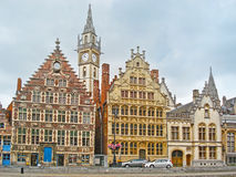 The mansions and towers of old Ghent Royalty Free Stock Photos