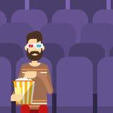 ManSit Watching Movie In Cinema 3d exponeringsglas med popcorn Stock Illustrationer