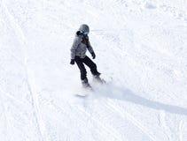 Mansnowboarding i vinter Fotografering för Bildbyråer
