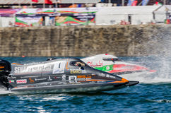 Mansoor Al Mansoori (ARE). PORTO, PORTUGAL - AUGUST 1, 2015: Mansoor Al Mansoori (ARE) during the U.I.M. F1H2O World Championship in Porto, Portugal stock images