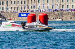 Mansoor Al Mansoori (ARE). PORTO, PORTUGAL - AUGUST 1, 2015: Mansoor Al Mansoori (ARE) during the U.I.M. F1H2O World Championship in Porto, Portugal royalty free stock image