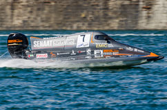 Mansoor Al Mansoori (ARE). PORTO, PORTUGAL - AUGUST 1, 2015: Mansoor Al Mansoori (ARE) during the U.I.M. F1H2O World Championship in Porto, Portugal stock image