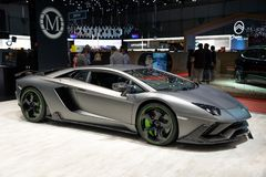 Mansory Lamborghini Aventador SV Carbonado Evo sports car. GENEVA, SWITZERLAND - MARCH 5, 2019: Mansory Lamborghini Aventador SV Carbonado Evo sports car royalty free stock image