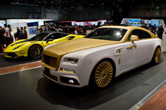 Mansory 4XX Siracusa and Wraith Palm Edition 999 at Geneva 2016. Geneva, 86th Salon de lAuto 2016 Royalty Free Stock Images