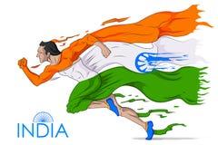 Manspring i tricolor indisk flagga vektor illustrationer
