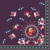 Mantón español cuarto con las flores hermosas y el pavo real mágico stock de ilustración