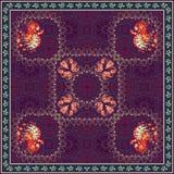 Mantón hermoso con los pavos reales de hadas y el fondo floral del ornamenton de Paisley Foto de archivo libre de regalías