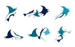 Manta και freediver πολικό καθορισμένο διάνυσμα καρδιών κινούμενων σχεδίων Στοκ Εικόνες