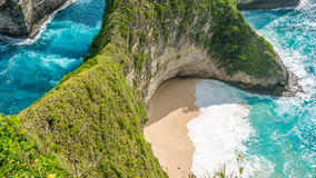 Manta Bay or Kelingking Beach on Nusa Penida Island, Bali, Indonesia.  Stock Images