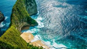 Manta-Bucht oder Kelingking-Strand auf Insel Nusa Penida, Bali, Indonesien stockbilder