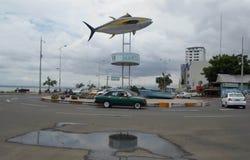 Manta Ecuador. MANTA, ECUADOR - MARCH 18, 2015: Tuna monument in the port of Manta. The city of Manta is the World Capital of Tuna Stock Photo