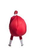 Manta jak bożego narodzenia Santa Claus spacer daleko od z torbą Zdjęcia Royalty Free