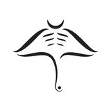 Manta ray abstract strokes composition. On white background Stock Image