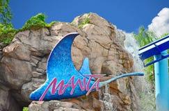 Manta Ray Rollercoaster Sign med härliga stenar och vattenfallbakgrund på Seaworld royaltyfria foton