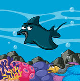 Manta ray swims in the ocean Stock Photo