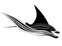 Manta Ray, tattoo stock illustration