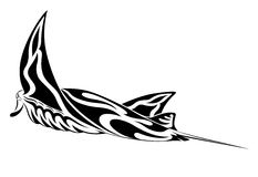 Manta Ray, tribal tattoo Stock Photo
