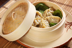 Manta rays in a wooden plate with lid. In asian style stock images
