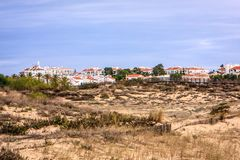 Manta Rota, Algarve, Portugal. A sleepy village with holiday homes behind the dunes awaits the spring Stock Photo