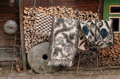 Manta tejida rumana tradicional de Maramures Foto de archivo